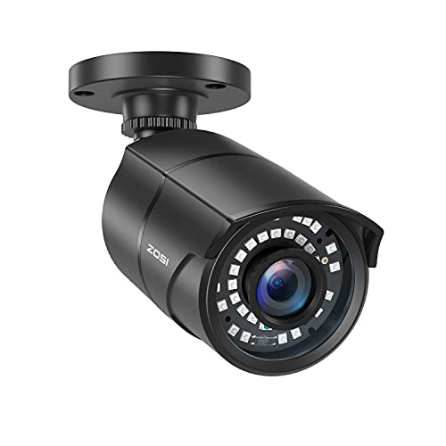 ZOSI 2.0MP HD 1080p 1920TVL Security Camera Outdoor Indoor (Hybrid 4-in-1 HD-CVI/TVI/AHD/960H Analog CVBS),36PCS LEDs,120ft IR Night Vision,105° View Angle Surveillance CCTV Bullet Camera(Black Color