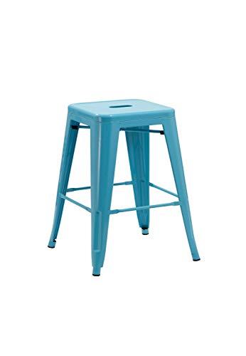 1x Stuhl Hocker Metall Barhocker Industry Design Farbwahl Küchenstuhl STAPELBAR Esszimmerstuhl Retro, Farbe:Blau, Material:Metall