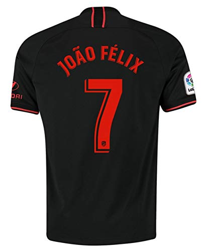 Aizer Do Atletico Madrid New 2019/2020 Season #7 Felix Away Mens Soccer Jersey Color Black/Red (S-XL), Red/White, Small