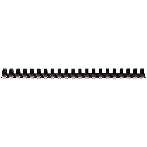 Fellowes Dorsi Plastici per Rilegatura, 21 anelli, passo 9 16, Diametro 19 mm, 100 pezzi , Nero