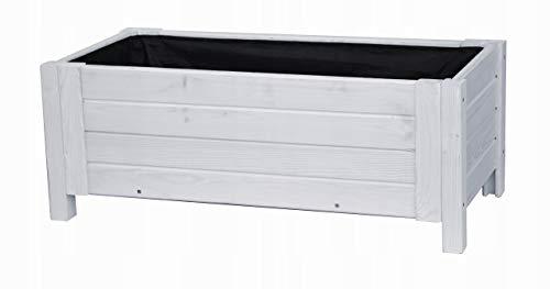 BOGATECO Pflanzkasten Pflanzkübelaus Holz | 80 x 38 cm | Weiß | Blumen-Topf Perfekt für Garten, Terrasse & Balkon | Stabile und Robuste Konstruktion | Imprägniert | Mit Agro-Textil