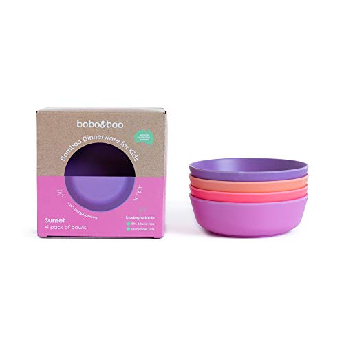 Bobo&Boo Bamboo Kids Bowl | Set of 4 Eco Friendly Toddler Bowls for Kids | Non Toxic & Reusable ~ Great Gift for Baby Showers Birthdays & Preschool Graduations - SUNSET