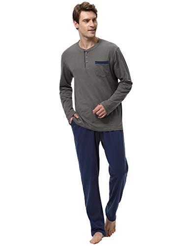 Aibrou Pijamas Hombre Invierno 100% Algodon Mangas Largas Pantalones Largo, Simple y Cómodo M