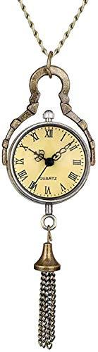 Reloj de bolsillo Reloj de bolsillo retro para hombres, gran bola de cristal, ojo de buey, reloj de bolsillo de cuarzo para hombres, números romanos negros, automático, mecánico, cadena de reloj de b