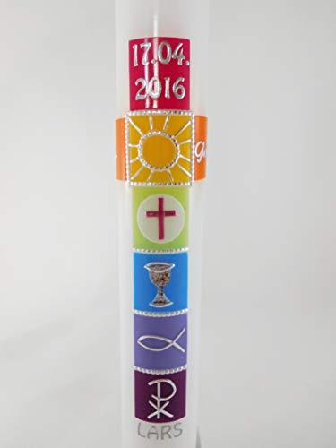Kommunionkerze Kreuz, bunt, für Mädchen und Jungs, Regenbogen, Kommunionskerze, verschiedene Größen