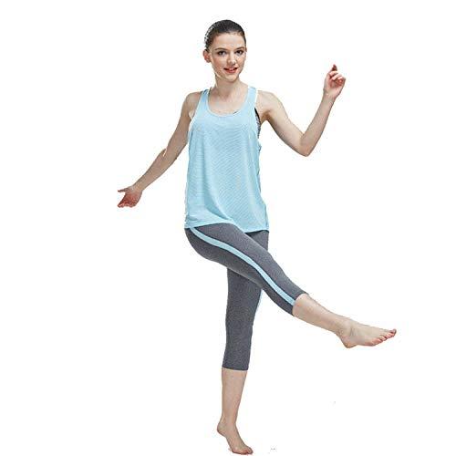 RRUI Vrouwen Sport Panty & Leggings sport panty Pinstripe zomer kleding sexy vrouwelijke yoga beginner pak Yuca katoen sportschool lichtblauw XL