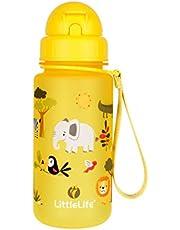 LittleLife Unisex-młodzieżowa butelka na wodę - Safari, 400 ml dla dzieci, żółta, jeden rozmiar