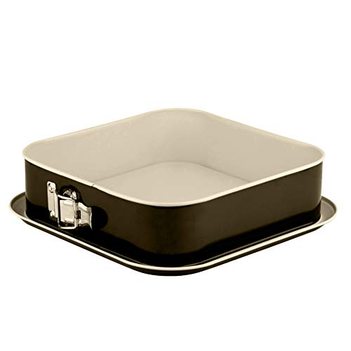 Grizzly Springform, viereckige Backform 24x24 cm, Schwarz-Creme, mit Auslaufschutz, Antihaftbeschichtet, hohe, quadratische Kuchenform
