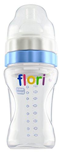 Flori Babyflasche für Unterwegs, Mix und Go ! Optimal für Nachtfütterung, Trinkflasche mit Sauger, BPA frei, Anti Kolik Trinksauger, 100% Made in Germany, 300 ml, blau