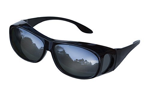 LensCovers Wear Over Sunglasses Size Medium Black Frames with Reflective Lens - Fit Over Style