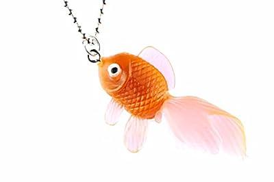 Miniblings Fisch Koi Kette Halskette 80cm Kampffisch Fischkette Goldfisch orange neon - Handmade Modeschmuck - Kugelkette versilbert