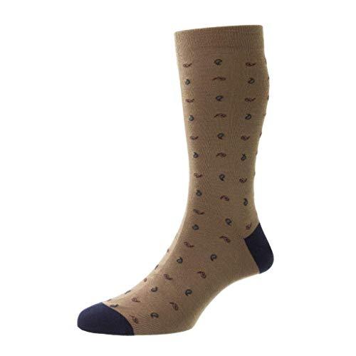 Pantherella Herren-Socken aus Parbury Wolle, Paisleymuster - Braun - Medium
