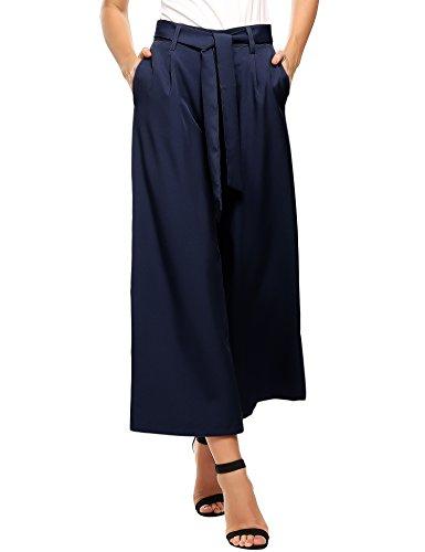 ZEAGOO  Damen Sommerhose lang weite Hose gestreifte Hose Palazzo mit Eingrifftaschen Schlabberhose, Dunkelblau - S