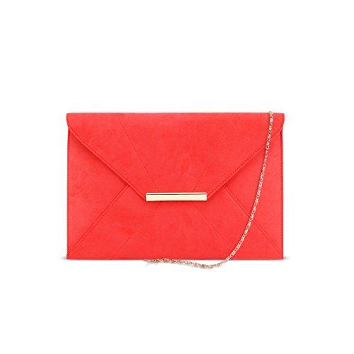 DSUK 1943 Cartera de Mano Roja, Bolso de embragues de tarde de las mujeres imitación de gamuza imán gancho del sobre del banquete de boda prom bolsos delgados con bolsillo de trabajo fecha bolso rojo