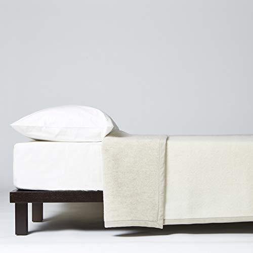 LANEROSSI Thema Tagesdecke für Einzelbett, 210 x 160 cm, 100 % Schurwolle, Beige