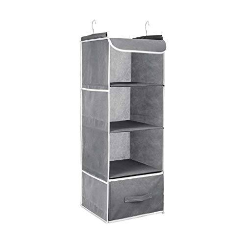 SJYDQ Hanging Closet Organizer Non-woven fabric Multi-layers Hanging Shelf Collapsible Closet Organizer with Side Pocket Unde