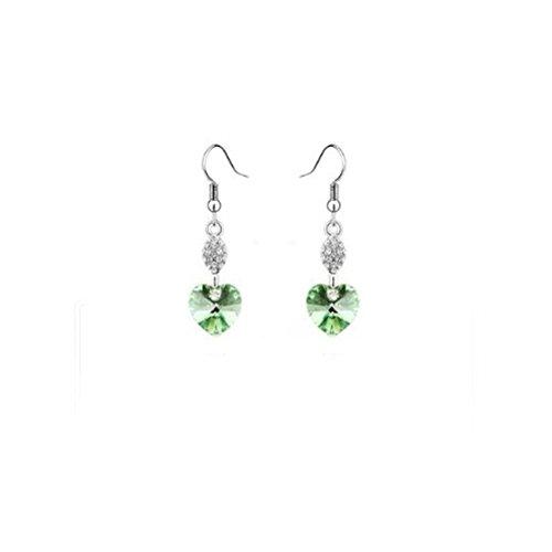 DeliaWinterfel Peridoto Verde - Orecchini di Cristallo Swarovski E Argento A Cuore by