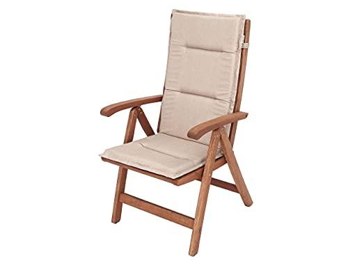 Cojín para silla con respaldo alto, cojín para sillón, tumbona de jardín, dimensiones del asiento: 45 x 45 cm, respaldo alto 69 cm, color beige