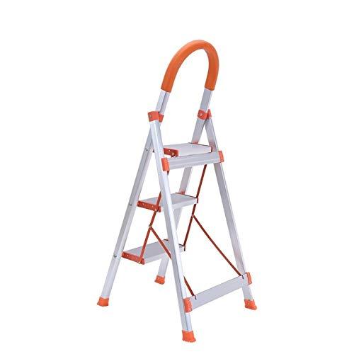 Gaorb040703 Inicio Escalera Plegable de Aluminio Portable del hogar Escalera Plegable Herramienta Exterior e Interior de Escalera Herramientas de Hardware (Color : Orange)