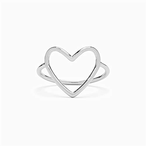 Glomixs Statements Heart Ring S925 Sterling Silver Heart Shaped Ring Women Simple Hollow Love Adjustable Open Ring
