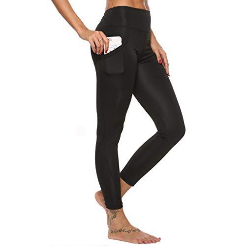ZAYZ Pantalones de Yoga para Mujer con Bolsillos Leggings Cintura Alta Control de Barriga Medias Modeladoras de Levantamiento de Glúteos Entrenamiento Corriendo (Color : Black, Size : X-Large)