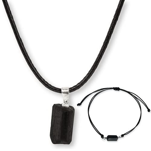 Collar Turmalina (+Pulsera Turmalina) Turmalina negra Natural Colgante Turmalina Piedra natural azabache