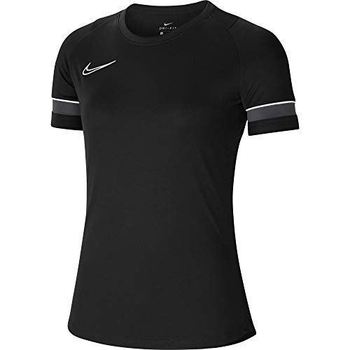 Nike Damen Academy 21 Training Top Women T-Shirt, Black/White/Anthracite/White, L