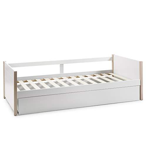 VS Venta-stock Cama Nido Juvenil Daniela 90X190, Color Blanco, Dimensiones: 200cm (Largo), 98,5cm (Ancho) y 62cm (Alto)