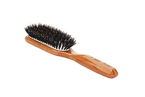 Bass Brushes | Shine & Condition Hair Brush | 100% Premium Natural Bristle FIRM | Pure Bamboo Handle | Medium Paddle | Dark Finish | Model 897 - DB