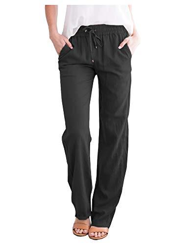 SCOFEEL Women's Cotton Linen Pants Drawstring Elastic Waist Side Pockets high Rise Casual Loose Trousers Pants Black