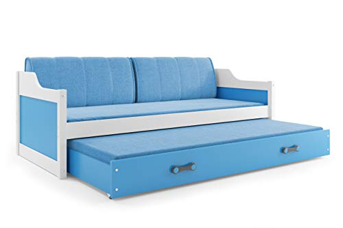 Interbeds Funktionsbett Schubladenbett David 200x90cm Farbe: weiβ; mit Lattenroste, Matratzen und Kissen (weiβ + blau)