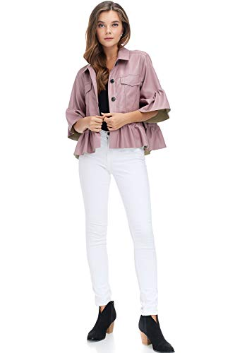 Tov Trucker Peplum Blouse Jacket Dust Pink