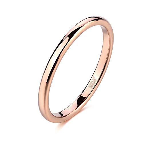 Titaniumcentral 2mm Silber Herren Damen Wolfram Ring Wolframcarbid Ringe Hochzeit Ehering Verlobungsringe Polierte (2mm-Rose Gold, 61 (19.4))