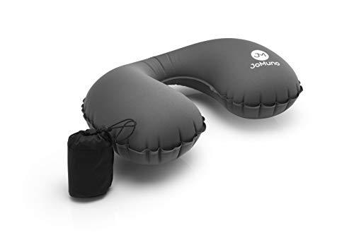 Nackenkissen | Reisekissen aufblasbar | Nackenhörnchen von JoMuno Ultralight und kompakt passt es in Jede Handtasche (grau)