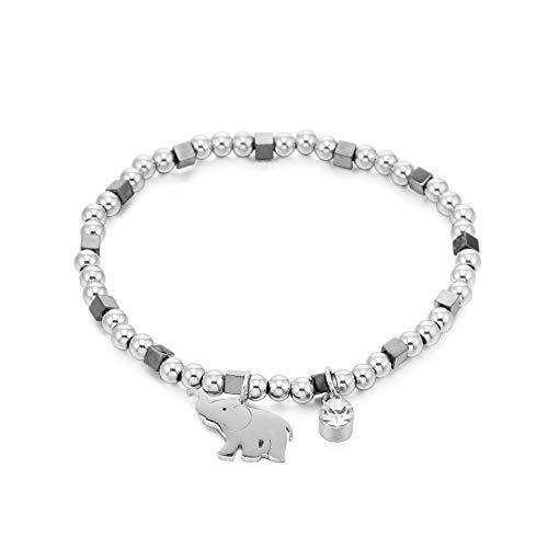 JinHan Pulsera para Mujer Pulsera con Colgante de Elefante Lindo Acero Inoxidable Cristal antialérgico Cadena elástica Ajustable Joyería de Moda de Plata para niñas glamorosas o Madres