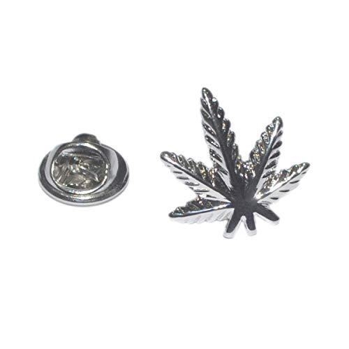 Gemelolandia | Pin de Solapa Hoja de Marihuana Plateada | Pines Originales Para Regalar | Para las Camisas, la Ropa o para tu Mochila | Detalles Divertidos