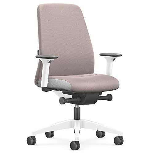 Interstuhl Every Interior Edition – Der Bürostuhl folgt der Bewegung des Körpers nach vorne und hinten – mit Verstellbarer Lordosenstütze (Taupe | Weiß)