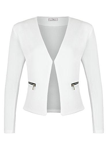 Damen Blazer mit Taschen (382), Farbe:Weiß, Kostüme & Blazer für Damen:42 / XL