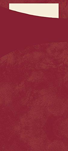 Duni 450057Sacchetto Besteck Taschen mit gefaltet Tissue Servietten Innen, 8,5cm x 19cm, bordeaux Sacchetto und Creme Serviette (500Stück)