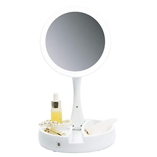 Peach Beauty Faltbarer Kosmetikspiegel mit LED Beleuchtung, Kompakter Faltbarer Schminkspiegel mit 1-Fach/5-Fach Vergrößerung, USB Kabel