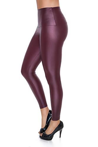 FUTURO FASHION FUTURO FASHION - Knöchellange Leggings mit hohem Bund - sexy Latex-Lederimitat - matt & glänzender Wet-Look - Purpurrot - 44