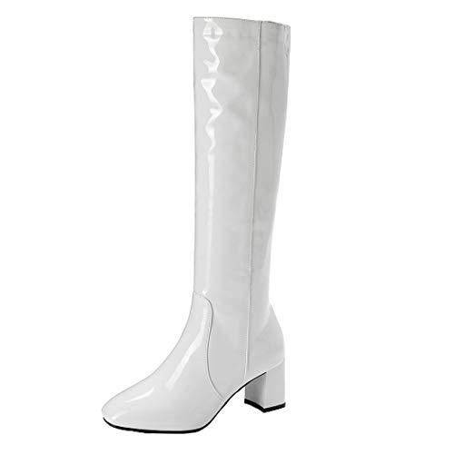 MISSUIT Damen Langschaftstiefel Blockabsatz Lackstiefel High Heels Kniehohe Stiefel mit Reißverschluss High Knee Stiefel(Weiß,40)