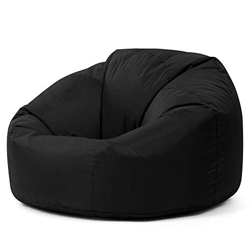 Bean Bag Bazaar Panelled Classic Bean Bag Chair, Black - Large, 84cm x 70cm - Indoor Outdoor Water Resistant BeanBags
