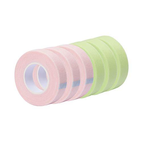 6 Rolls Eyelash Tape Adhesive Fabric Lash Tapes for Eyelash Extension Supply Breathable Micropore Fabric Medical Tape Under Eye Individual Eye Lashes Tools
