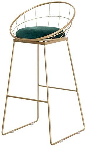 WTT Moderne tafel stoel met rugleuning en voetsteun | Hoge barkruk voor keukeneiland, teller | Metalen been en zacht fluwelen kussen | Counter