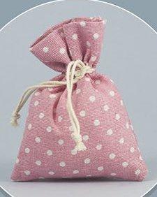 Pianeta Confetti Bomboniera Sacchetto Stoffa a Pois, Portaconfetti, Segnaposto, Confettata, Rosa, Confezione da 30 pezzi, 10 x 12 cm