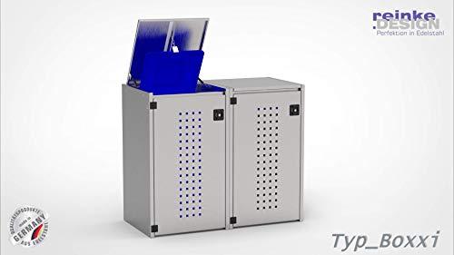 reinkedesign Mülltonnenbox Boxxi aus Edelstahl V2A Bausatz (2 x 120l, Kippdach)