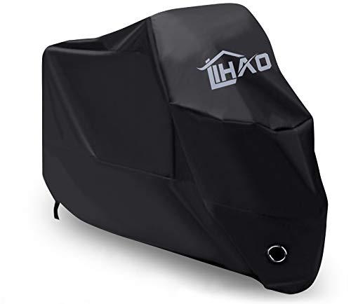 LIHAO Telo Coprimoto Impermeabile Moto Copertura Esterna UV Protezione Poliestere 190T (Nero, XXL)