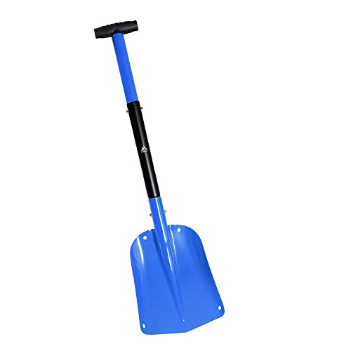 Hewolf Snow Shovel for Snow Removal - Collapsible 3 Piece Design Metal Portable Snow Shovels Aluminum Folding Compact Sport Utility Shovel with Telescoping Handle for Car Truck SUV Driveway
