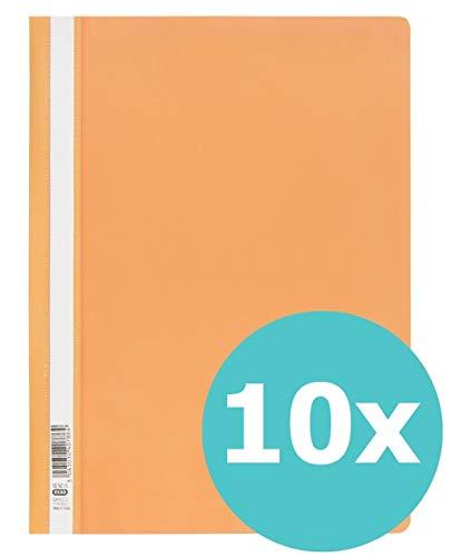 ELBA 100742145 Schnellhefter A4 10er Pack aus Kunststoff für ca. 160 DIN A4-Blätter in orange